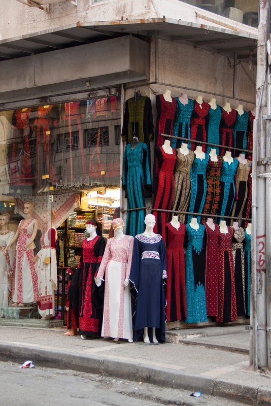 There are a lot of stores selling traditional costumes. Jordanian costumes are long cut, embroidered, and have a scoop neckline.